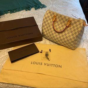 *AUTHENTIC* Louis Vuitton Speedy 30 Damier Azur